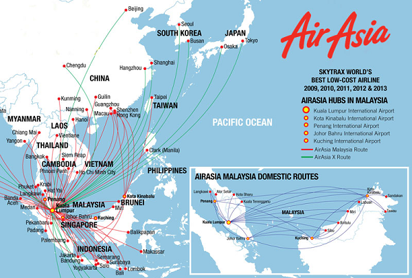 Mạng lưới đường bay của Air Asia